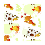 Chickens, Cows, Ducks Giclee Print
