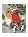 Cardinal Couple with Holly Impression giclée par William Vanderdasson