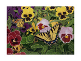 Butterflies and Pansies Giclee Print by William Vanderdasson