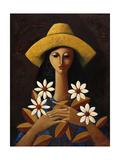 Five Daisies Giclee Print by Oscar Ortiz