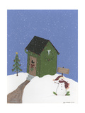 Dark Green Outhouse Giclee Print by Debbie McMaster