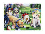Golfing Puppies Giclee Print by Jenny Newland