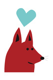 Happy Red Dog Giclee Print by Carla Martell