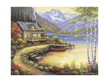 Fishing at the Lake Impression giclée par John Zaccheo