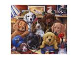 Grandpa's Puppies Giclée-tryk af Jenny Newland