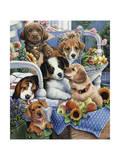 Country Pups Giclée-tryk af Jenny Newland
