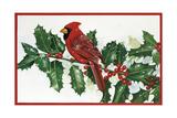 Cardinals and Holly Impression giclée par William Vanderdasson