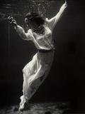 Fashion Model Underwater in Dolphin Tank Reprodukcja zdjęcia