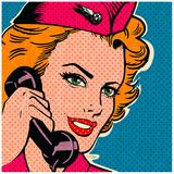 Flight attendant pink Art by Bruno Pozzo