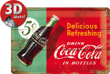 Coca-Cola Tin Sign - Delicious Refreshing Green Metalen bord