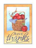 Give thanks apple basket Giclee Print by Melinda Hipsher