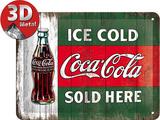 Coca-Cola Tin Sign - Ice Cold Sold Here Blikkskilt