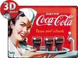 Coca-Cola Tin Sign - Waitress Plakietka emaliowana