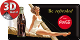 Coca-Cola Tin Sign - Be refreshed Lady Targa in alluminio