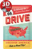 Route 66 Drive Plaque en métal