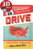 Route 66 Drive Tin Sign