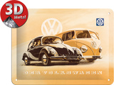 VW Beetle & Bulli Cartel de metal