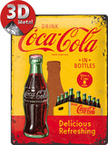 Coca-Cola Tin Sign - In Bottles Yellow Metalen bord