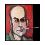 Hunter S Thompson with Cig Black Giclee Print by Tim Nyberg