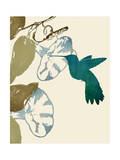 Hummingbird and Morning Glories Giclee Print by Karen Williams