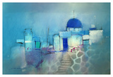Santorini Blue Poster by John Lovett