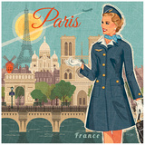 Paris dress Posters by Bruno Pozzo