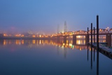 Sunrise thru Morning Willamette River and down Town Portland, Oregon. Photographic Print by Craig Tuttle