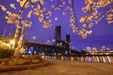 Cherry Blossoms and Water Front Park, Steel Ridge, Willamette River, Portland Oregon. Photographic Print by Craig Tuttle