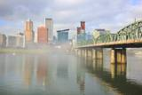 Sunrise thru Morning Fog Anlong Willamette River and down Town Portland, Oregon Photographic Print by Craig Tuttle