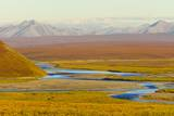 Mountains and Winding River in Tundra Valley Photographic Print by Momatiuk - Eastcott