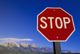 Stop Sign near Teton Range, Wyoming Photographic Print by Momatiuk - Eastcott