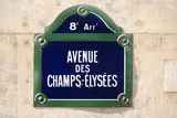 Address Sign on Champs-Elysees Photographic Print