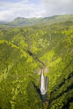 Aerial View of Waterfall in Waimea Canyon Photographic Print by Terry Eggers