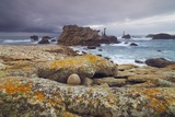 Rocky Coastline at Pointe De Pern with Lighthouse of Nividic, Ouessant, Finistere, Brittany, France Photographic Print by Frank Krahmer