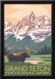 Grand Teton National Park - Moose and Mountains Print