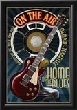 Memphis, Tennessee - Guitar and Microphone - Blue Posters
