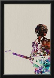 Hendrix With Guitar Watercolor Posters