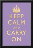 Keep Calm and Carry On Motivational Lilac Art Print Poster Posters
