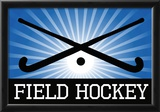 Field Hockey Crossed Sticks Blue Sports Poster Print Photo