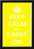 Keep Calm and Carry On (Motivational, Yellow) Art Poster Print Posters