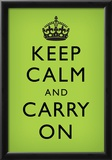 Keep Calm and Carry On (Motivational, Faded Medium Green) Art Poster Print Print