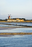 Windmill and Saltworks, Marsala, Sicily, Italy Photographic Print by Massimo Borchi