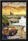 Santa Barbara, California - Woody and Lighthouse Print