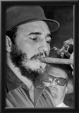 Fidel Castro Smoking Cigar Archival Photo Poster Print