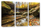 Blue Hen Falls 3, 3 Piece Gallery-Wrapped Canvas Set Prints by Cody York