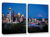 Seattle And Mt. Rainier, 2 Piece Gallery-Wrapped Canvas Set Prints by Cody York