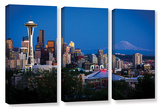 Seattle And Mt. Rainier, 3 Piece Gallery-Wrapped Canvas Set Print by Cody York