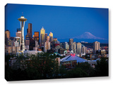 Seattle And Mt. Rainier, Gallery-Wrapped Canvas Stretched Canvas Print by Cody York