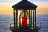 Cape Meares Lighthouse Lens at Sunset, from Cape Meares, Oregon, USA Photographic Print by Craig Tuttle