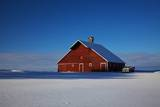 Old Red Barn and Truck after Snow Storm Photographic Print by Terry Eggers